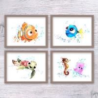 Disney Nemo print Set of 4, Finding Dory watercolor poster Squirt Sea horse Sheldon illustration Nursery room decor Baby shower gift V215