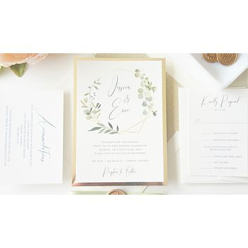 Green and Gold Vellum and Wax Seal Wedding Invitation - SAMPLE SET