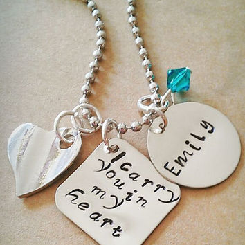 """Hand Stamped  """"I Carry You in My Heart"""" Necklace"""