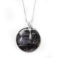 Picasso Jasper and Sterling Silver Cross Necklace