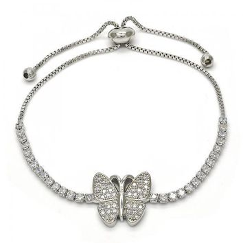 Rhodium Layered 03.155.0032.10 Fancy Bracelet, Butterfly Design, with White Micro Pave and White Crystal, Polished Finish, Rhodium Tone