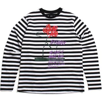 Flower Stripe Longsleeve Crew Black