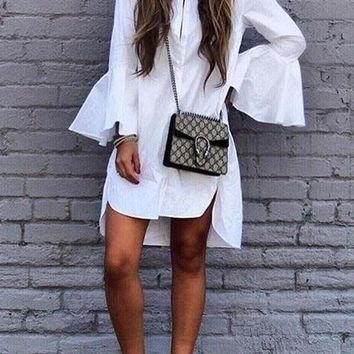 White Irregular Single Breasted Flare Sleeve Oversize Casual Midi Dress