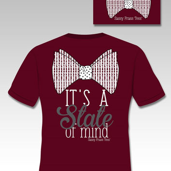Sassy Frass Tees It's a State of Mind Bow Maroon Comfort Colors Southern Girlie Bright T Shirt