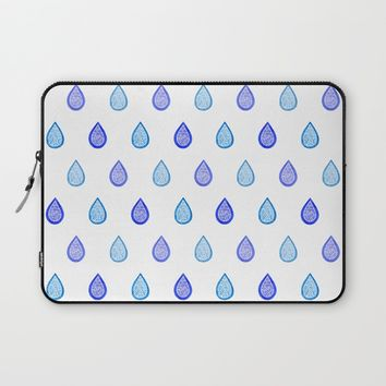 Blue raindrops Laptop Sleeve by Savousepate