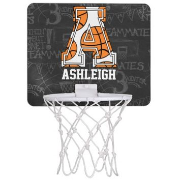 Personalized Chalkboard Basketball Letter A