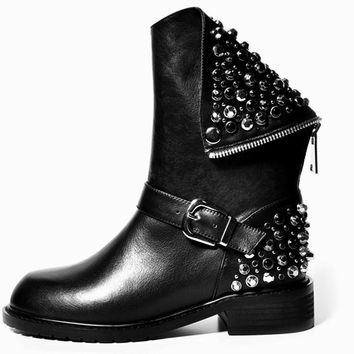 Custer Leather Studded Motorcycle Boots