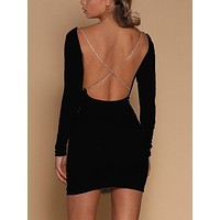 Fashion Hollow Backless Bodycon Strapless Solid Color Irregular Mini Dress
