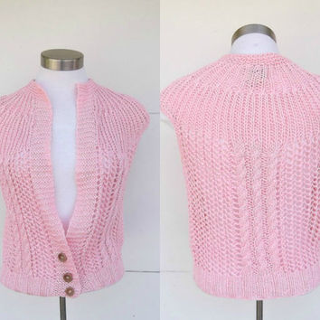 Vintage Pink Shrug Sweater Vest Open Weave Wooden Buttons