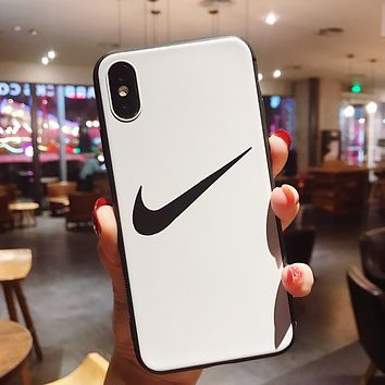 NIKE Tide brand personality men and women couple models iPhone7plus mobile phone case cover white
