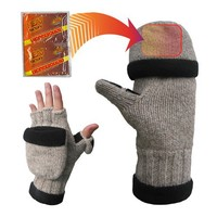 Heat Factory Fleece-Lined Ragg Wool Gloves with Fold-Back Finger Caps and Hand Heat Warmer Pockets, Women's