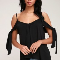 Believe Me Black Off-the-Shoulder Tee