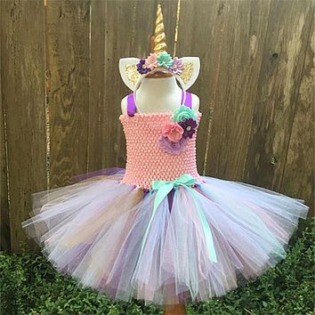 Hot Sale Baby Girls Tutu Dress Rainbow Pony Unicorn Costume For Kids Cosplay Birthday Party Dress Girl Halloween Costume K154