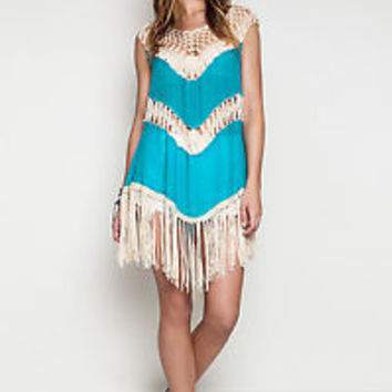 Umgee USA Crochet Tunic Dress Free Gypsy Hippie Fringe Country Boho Teal S,M,L