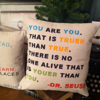 You are You- Dr. Seuss  Quote Pillow-  Home Kids Room Decor