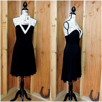 80s black halter dress / size 6 / 7 / 1980s black / white  beaded party cocktail dress / Betsy and Adam USA