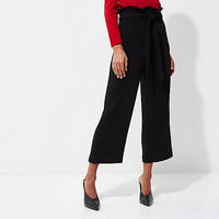 Black pleated trim belted culottes - Cropped Pants - Pants - women