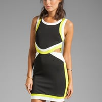 Bardot Scuba Contrast Dress in Black/Lime/White from REVOLVEclothing.com