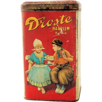 Vintage Advertising Tin Droste Cocoa Haarlem Holland Large 2 Pound Canister ca 1904