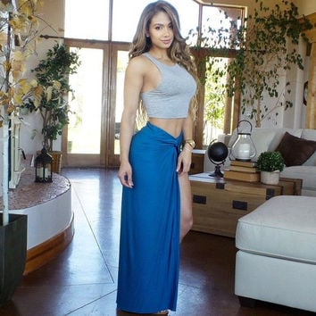Grey and Blue Cropped Top and Maxi Skirt