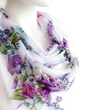 BUY ANY 3 GET 1 OF THEM FREE, large cotton scarf, gift for wife, gift for birthday, large square scarf, purple scarf, gift for friends, gift sister, flowers scarf,