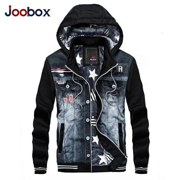 JOOBOX 2018 New arrival Spring autumn Patchwork Denim Jacket Men Outerwear Fashion Casual Coats Slim Fit Cotton HWY8903