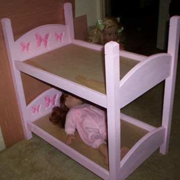 Handcrafted American Girl 18 inch doll size bunk bed  pink bed with pink butterfly headboard design