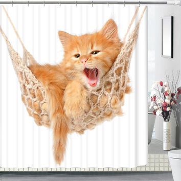 New Design Cute Cat 3d Printing Bathroom Curtain Shower - Waterproof