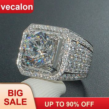 Vecalon Luxury Big Men White Gold Filled ring Pave setting 4ct 5A Zircon cz Engagement wedding Band rings for men Father Gift