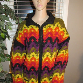 ON SALE Vtg 70s 80s Color Block Chunky Knit Handmade Sweater / Boho Chic Hippie Sweater / Multi Color Wool Cardigan Sweater Coat / Ecuadoria