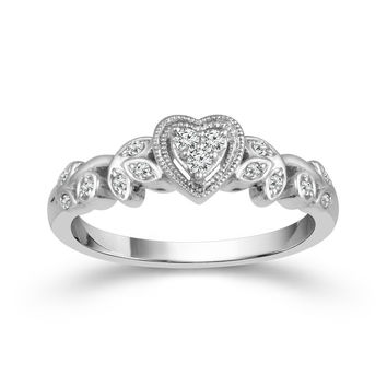 10K White Gold Heart Shaped Cluster Promise Ring with Floral Design