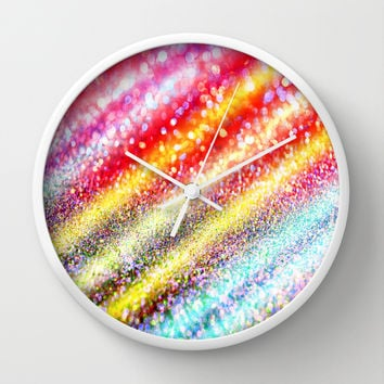 glitter stripes Wall Clock by Haroulita
