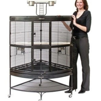 BIRD - CAGES: LARGE BIRDS - PARROT CORNER CAGE 45X30X69 - BLACK - PREVUE PET PRODUCTS, INC - UPC: 48081031582 - DEPT: BIRD PRODUCTS