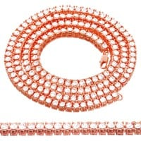 14k Rose Gold Finish 5mm One Row Solitaire Tennis Necklace