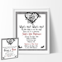 The Nightmare Before Christmas Baby Shower Invitation & Book Card