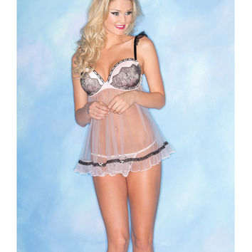 Sheer Chemise W-lace & Padded Cups & Thong Pink