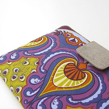 Kindle Cover Kindle Fire Cover Nook Simple Touch Cover iPad Mini Cover Kobo Cover Case Peacock Feathers Purple and Green Katydidstitches