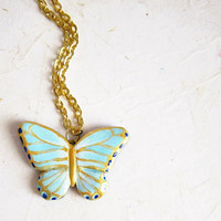 Grey Jade Butterfly Necklace, Hand Painted Jewelry from Polymer Clay