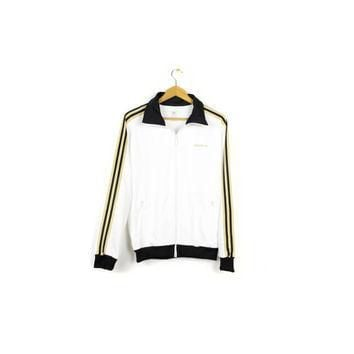 white & gold ADIDAS track jacket - rare sample - mens medium