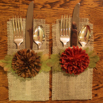 Burlap Silverware Holders Sage with Fall Colored Silk Flowers, Set of 4