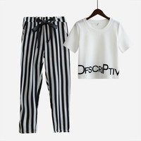Women Set Summer White Letter Printed T Shirt Sexy Cropped Tops +Striped Pants Calf Length Casual Tracksuit