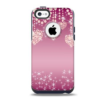 The Pink Sparkly Chandelier Hearts Skin for the iPhone 5c OtterBox Commuter Case