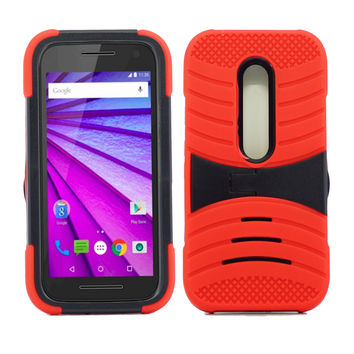 Motorola Moto G 3rd Gen Hybrid Silicone Case Cover Stand Red