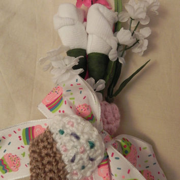 Cupcake Girl Baby Shower Corsage with Beanie Hat by JeannaSadorra