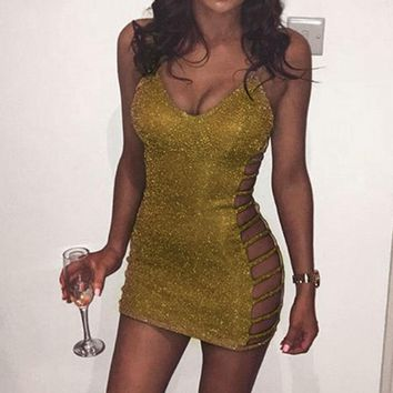 2018 Hot Sale Women Summer Gold Deep V Neck Spaghetti Strap Skinny Mini Dress Women Club Dress Party Dress  Women Summer Dress