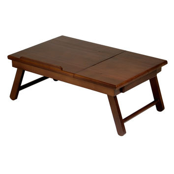 Alden Laptop Desk with Flip Top Drawer & Foldable Legs