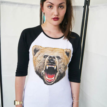Bear Roar Womens Baseball 3/4  t-shirt, Baseball tee, Ladies, Bear top, Bear tee, Bear Shirt, Animals, Urban Outfitters, Bears, New