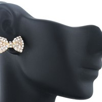 2 Pairs of Goldtone with Clear Iced Out Mini Style Bow Stud Earrings