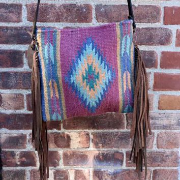 Plum Diamond Fringe Cross body Bag Purse