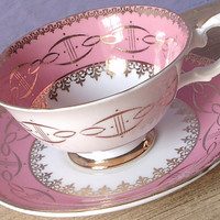 Vintage Mid Century Modern tea cup and saucer, Royal Grafton pink tea cup, English bone china tea cup, space age, pink and gold tea cup